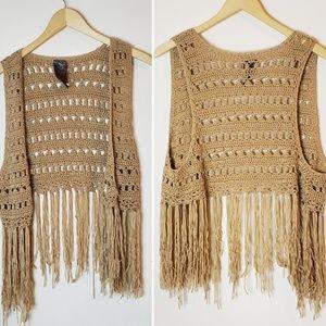 Wallpaper Fringe Bottom Crochet Open Front Vest